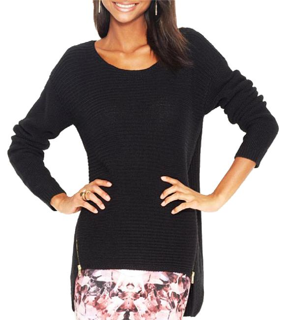 Preload https://item1.tradesy.com/images/bar-iii-black-acrylic-wool-ribbed-double-zipper-high-low-sweaterpullover-size-6-s-20568950-0-1.jpg?width=400&height=650