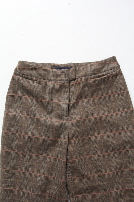 Piazza Sempione Wool Plaid Crop Ankle Coin Pocket Capri/Cropped Pants Brown