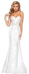 Mac Duggal Couture Prom Wedding Lace Beaded Strapless Dress