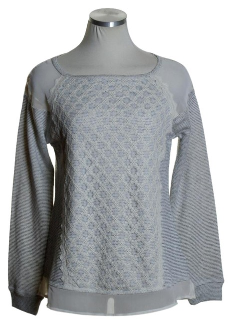Preload https://item5.tradesy.com/images/maison-jules-gray-striped-lace-overlay-paneled-sweatshirthoodie-size-6-s-20569049-0-1.jpg?width=400&height=650
