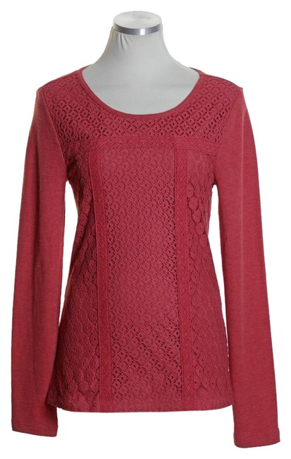Preload https://item2.tradesy.com/images/lucky-brand-red-lace-overlay-thermal-knit-blouse-tee-shirt-size-8-m-20569101-0-1.jpg?width=400&height=650