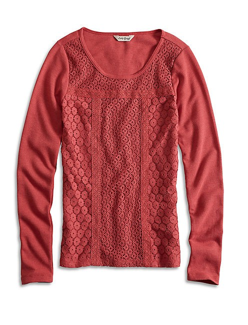 Lucky Brand Knit Long Sleeve Thermal T Shirt Red