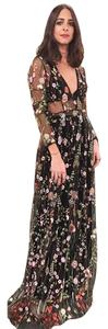 Escarcha Embroidered Floral Mesh See-trough Longsleeve Dress