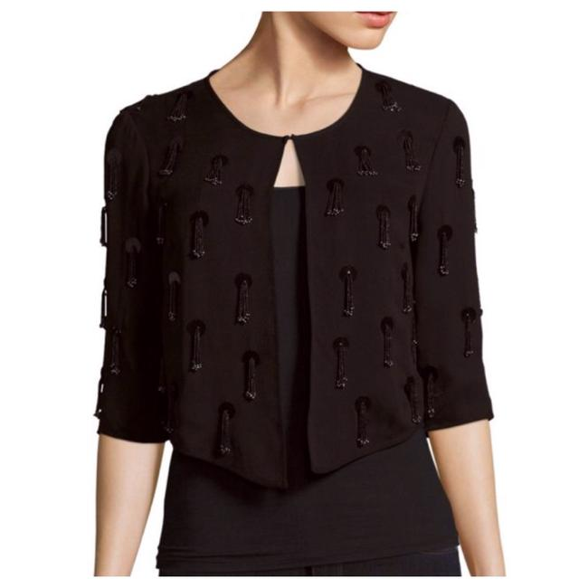 MILLY Open-front Tassel Black Jacket