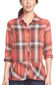 Kensie Button Down Shirt Orange Black