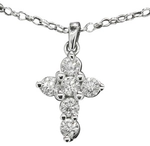 Other Ladies 14k White Gold 1.02ct Diamond Cross Necklace