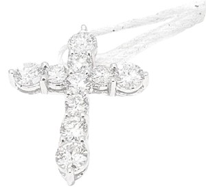 Other Ladies 18k White Gold .79ct Diamond Cross Necklace