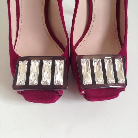 Miu Miu Jewel Peep-toe Suede Burgundy Pumps