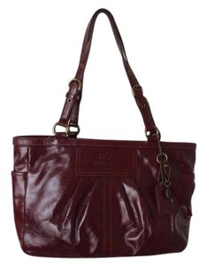 Coach Patent Leather Red Tote in Deep Red
