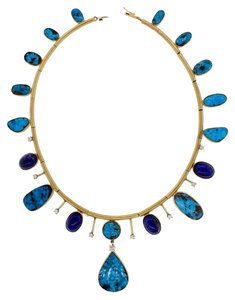Other GORGEOUS - Palladium, 14k gold, Diamond and Turquoise necklace