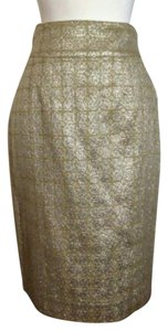Burberry Vintage Metallic Skirt Gold
