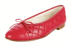 Chanel Ballet Cap-toe Quilted Bow Red Flats