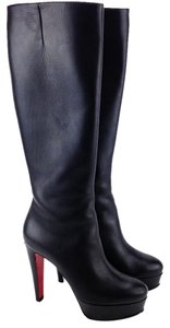 Christian Louboutin Tall Knee High Lady Platform Leather Black Boots