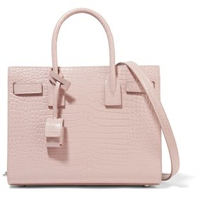 Saint Laurent Ysl Classic Sac De Jour Croc Business Tote in Blush