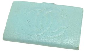 Chanel Chanel Caviar Mint Green Long Folding Wallet