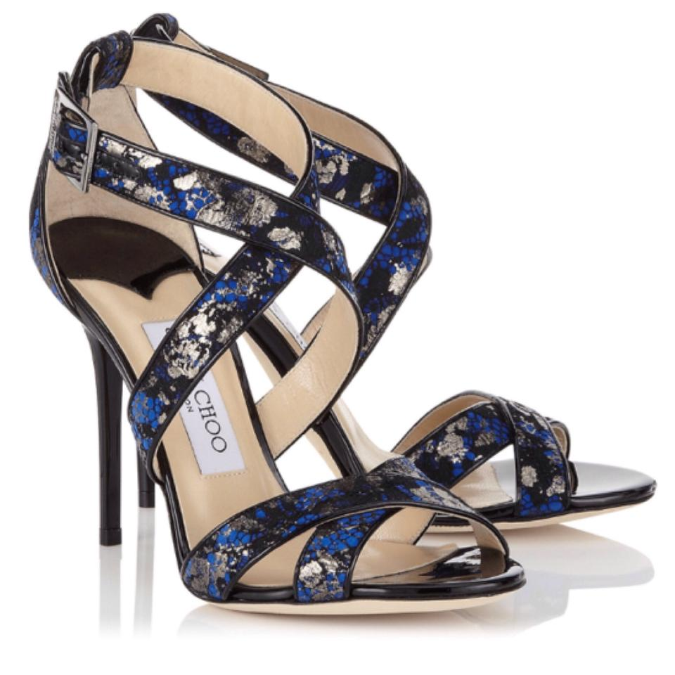 1c1dd9937f2 Jimmy Choo Aegean  Blue-black Lottie Metallic Lace On Suede Sandals ...