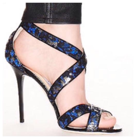 Jimmy Choo Lottie Metallic Lace On Suede Aegean/ Blue-Black Sandals