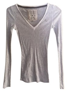 Abercrombie & Fitch Vintage Longsleeve Striped V-neck Top grey and white