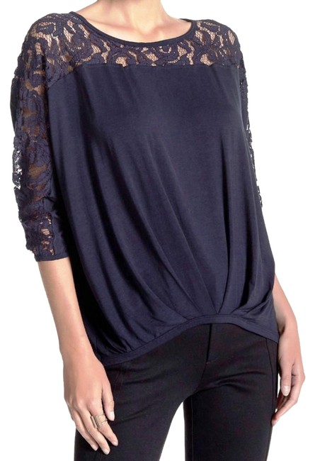 Preload https://item5.tradesy.com/images/nanette-lepore-navy-lace-inset-blouson-tee-shirt-size-12-l-20569729-0-3.jpg?width=400&height=650