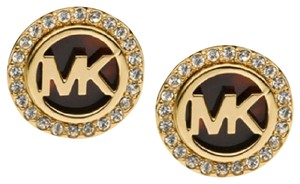 Michael Kors Michael Kors Goldtone and Tortoise MK Stud Earrings