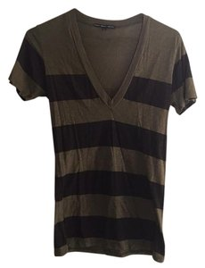 Truly Madly Deeply Striped V Neck Urban Outfitters Tshirt Top green and brown