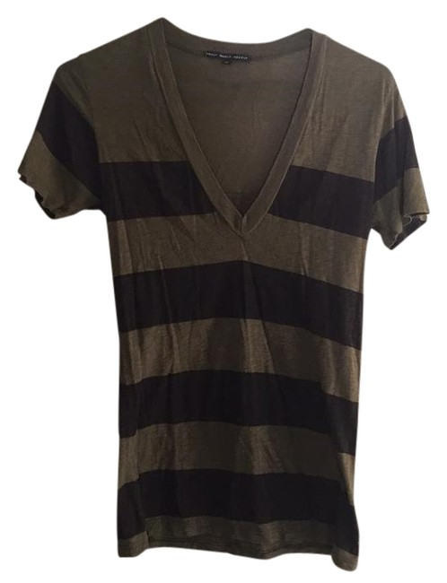 Item - Green and Brown Striped V Neck Blouse Size 6 (S)