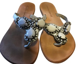 Charles David Flip F metallic silver beaded Sandals