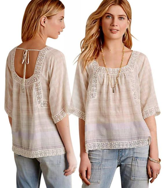 Anthropologie Cut Out Back Top Ivory