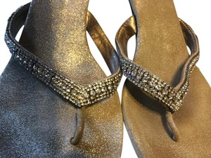 Pelle Moda metallic gold crystal Sandals
