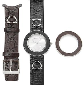 Gucci Gucci Watch Band Strap and Bezel, Women's U-Play Black Guccissima Leat