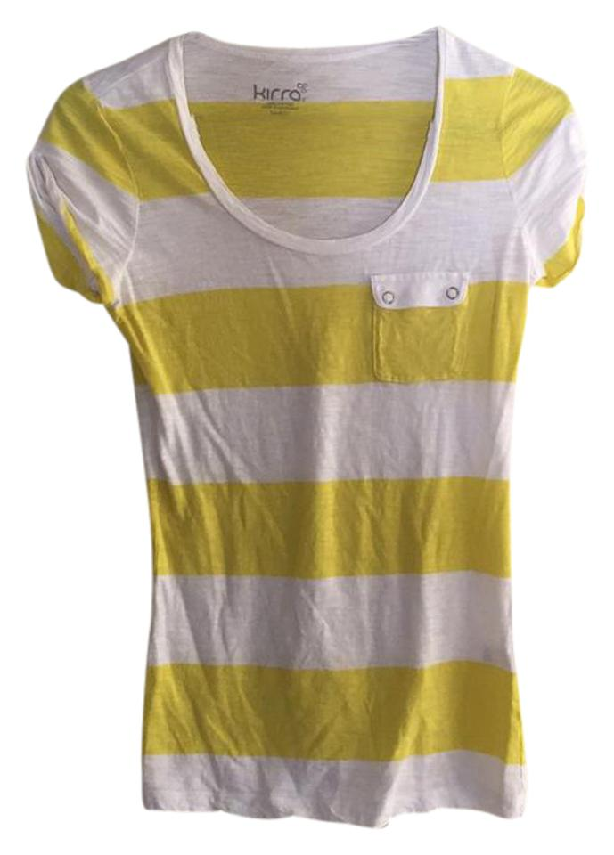 f45c252c PacSun White and Yellow Striped with Pocket Tee Shirt Size 4 (S ...