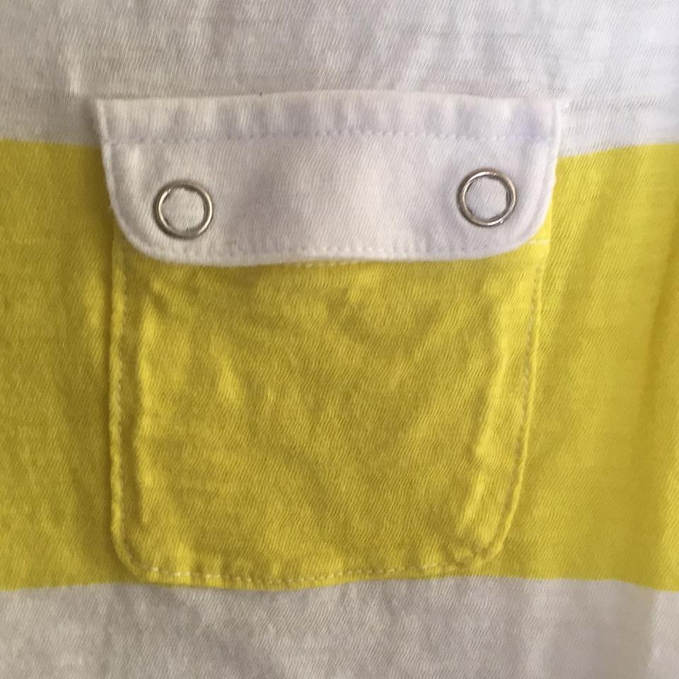 f78af06b PacSun Striped Pocket Casual T Shirt white and yellow Image 5. 123456