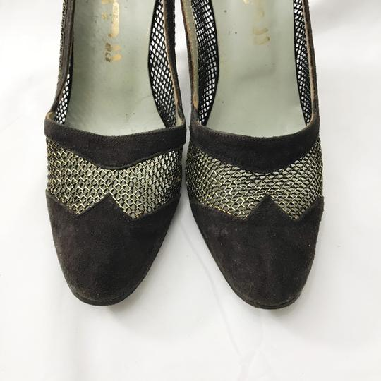 Other Vintage Custom Made Mid Century Suede Mesh Brown, Gold Pumps