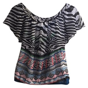 Express Off Shoulder Zebra Wild Print Dressy Top multi