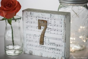 Wedding Wood Block Table Sign Music Theme Rusty Number Sign