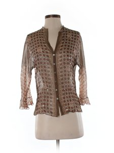Rozae Nichols Silk Print Top Brown/beige