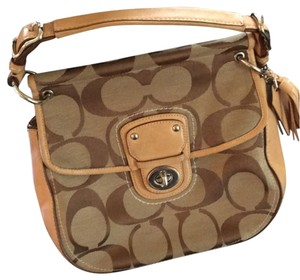 Coach Satchel in Tan background with brown