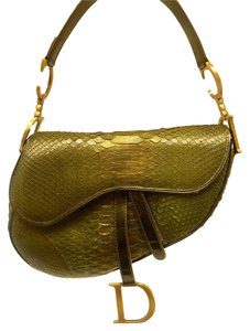 Dior Christian Saddle Handbag Python Shoulder Bag