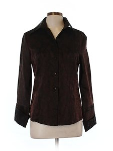 Naracamicie Print Tapestry Satin Shirt Button Down Shirt Brown
