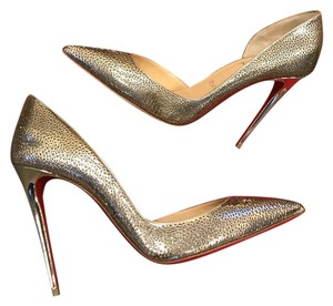 Christian Louboutin Heels Laser Cut Gold Light Gold/Ivory Pumps