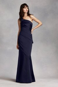White By Vera Wang Midnight One Shoulder Satin Dress With Asymmetrical Skirt Dress