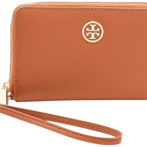 Tory Burch Wristlet in Brown Camel Tan