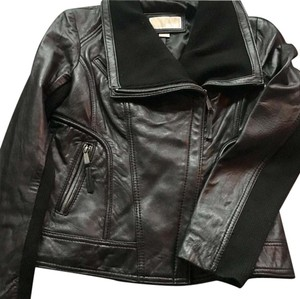 Michael Kors black/brushed silver hardware Leather Jacket