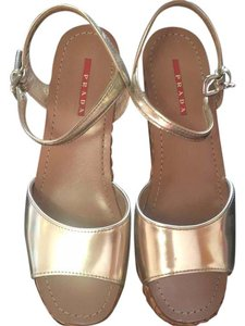 Prada gold and tan Sandals