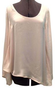 Central Park West Bell Sleeves Asymmetrical Hem Top Blush