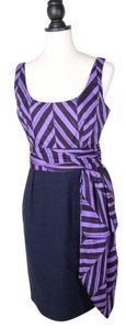 MILLY short dress PURPLE Silk Striped on Tradesy