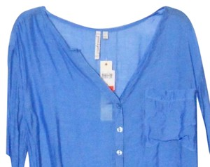 Grand & Green Large L Sheer Night Shirt Top blue