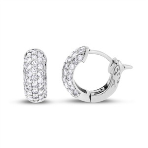 Other 0.98 Carat Natural Diamond Baby Huggie Earrings In Solid 14k White
