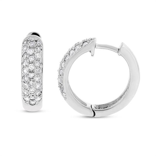 Other 0.60 Carat Natural Diamond Huggie Hoop Earrings In Solid 14k White