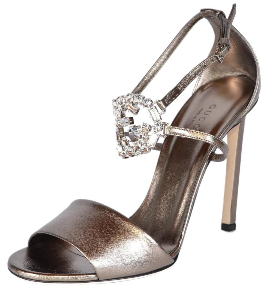 8ee4e0f10 Gucci Sasso 362317 Leather Crystal Studded Gg Ankle Strap Sandals ...